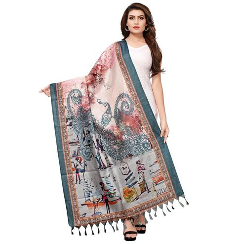 Flattering Beige-Grey Colored Casual Wear Digital Printed Khadi Silk Dupatta