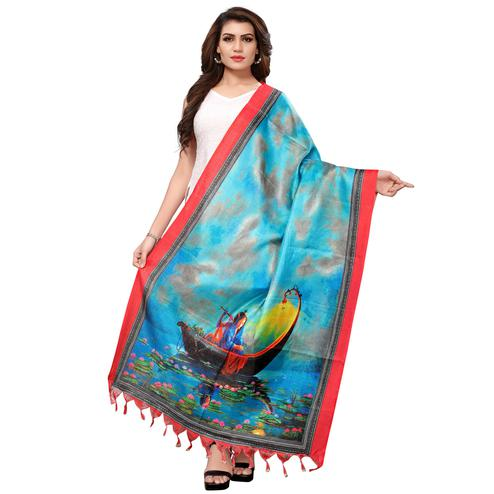 Breathtaking Turquoise Blue Colored Casual Wear Digital Printed Khadi Silk Dupatta