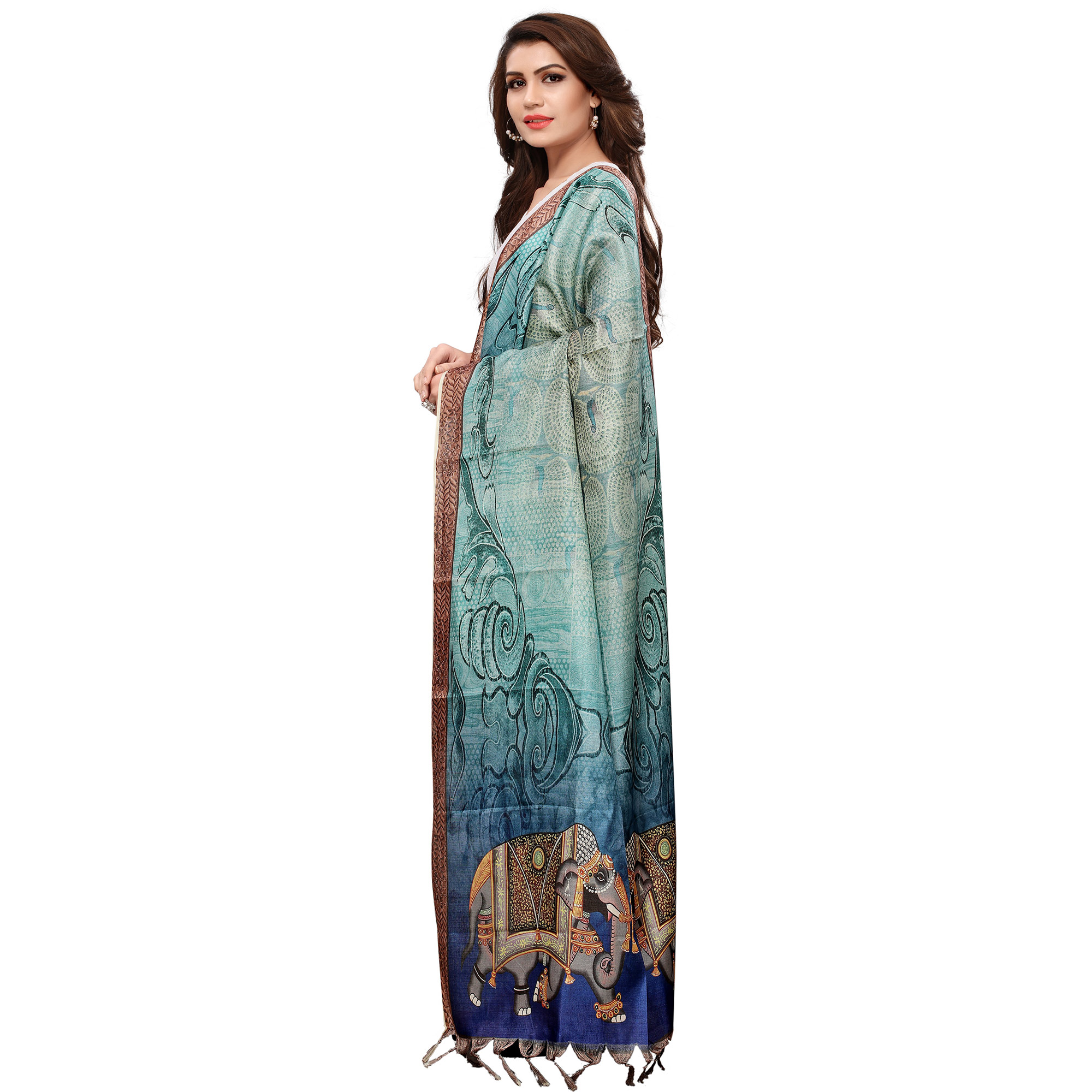 Impressive Shaded Blue Colored Casual Wear Digital Printed Khadi Silk Dupatta