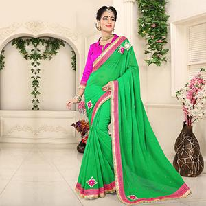 Marvellous Green Georgette Partywear Saree