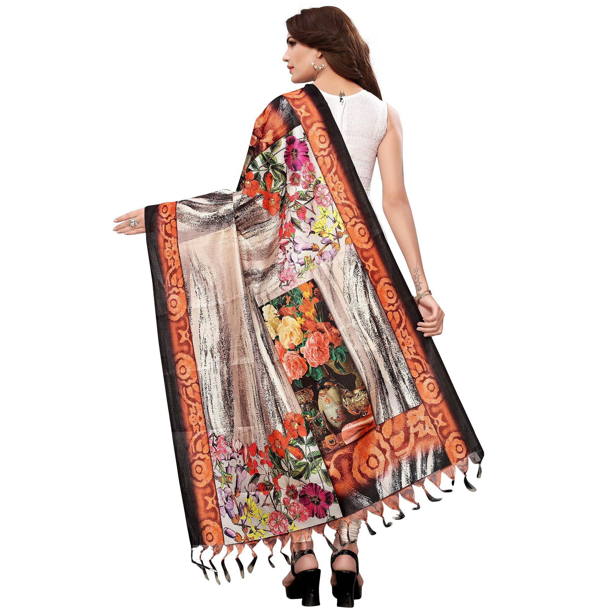 Innovative Multicolored Casual Wear Digital Printed Khadi Silk Dupatta