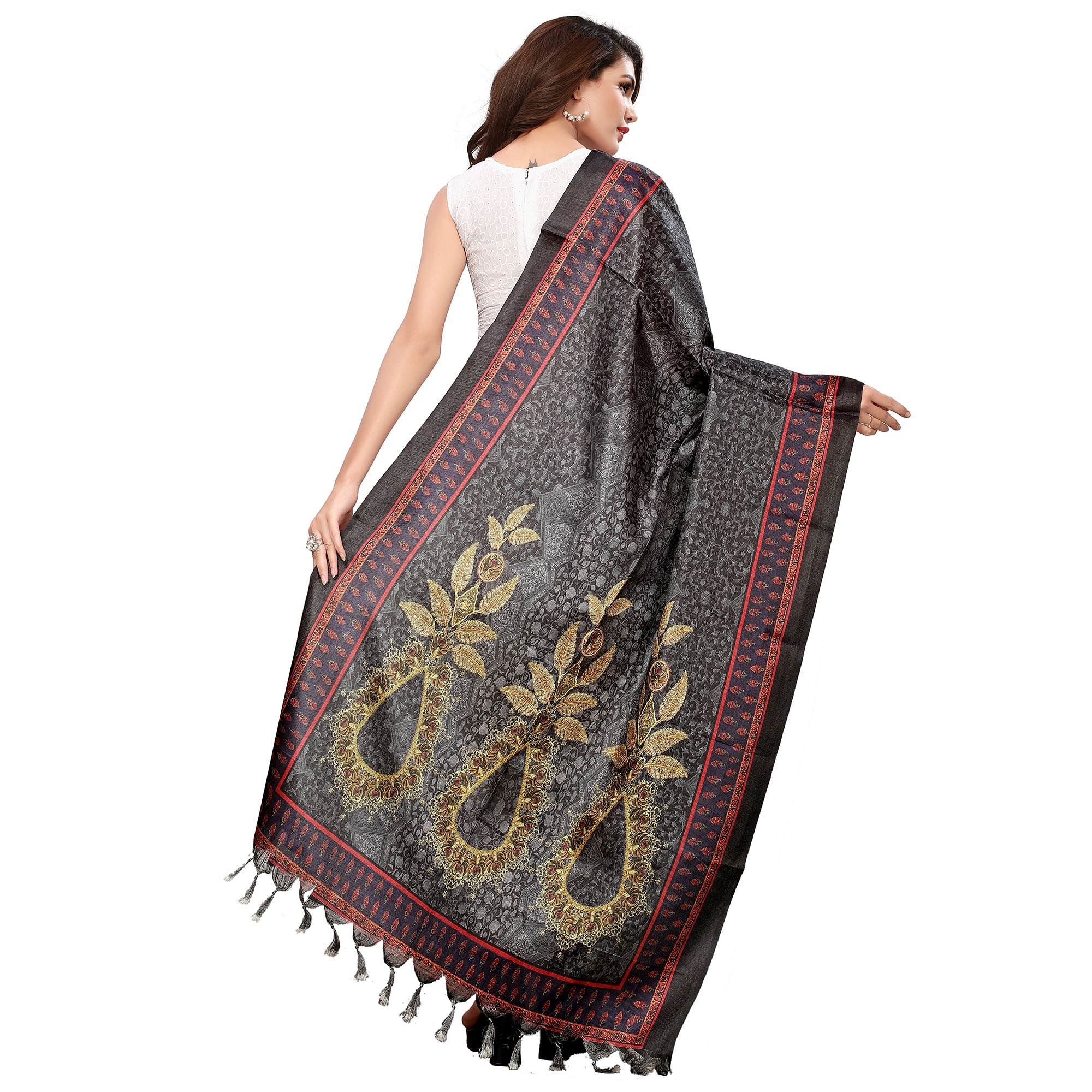 Gleaming Black-Grey Colored Casual Wear Digital Printed Khadi Silk Dupatta