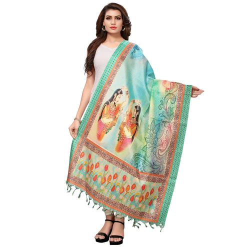 Desirable Multicolored Casual Wear Digital Printed Khadi Silk Dupatta