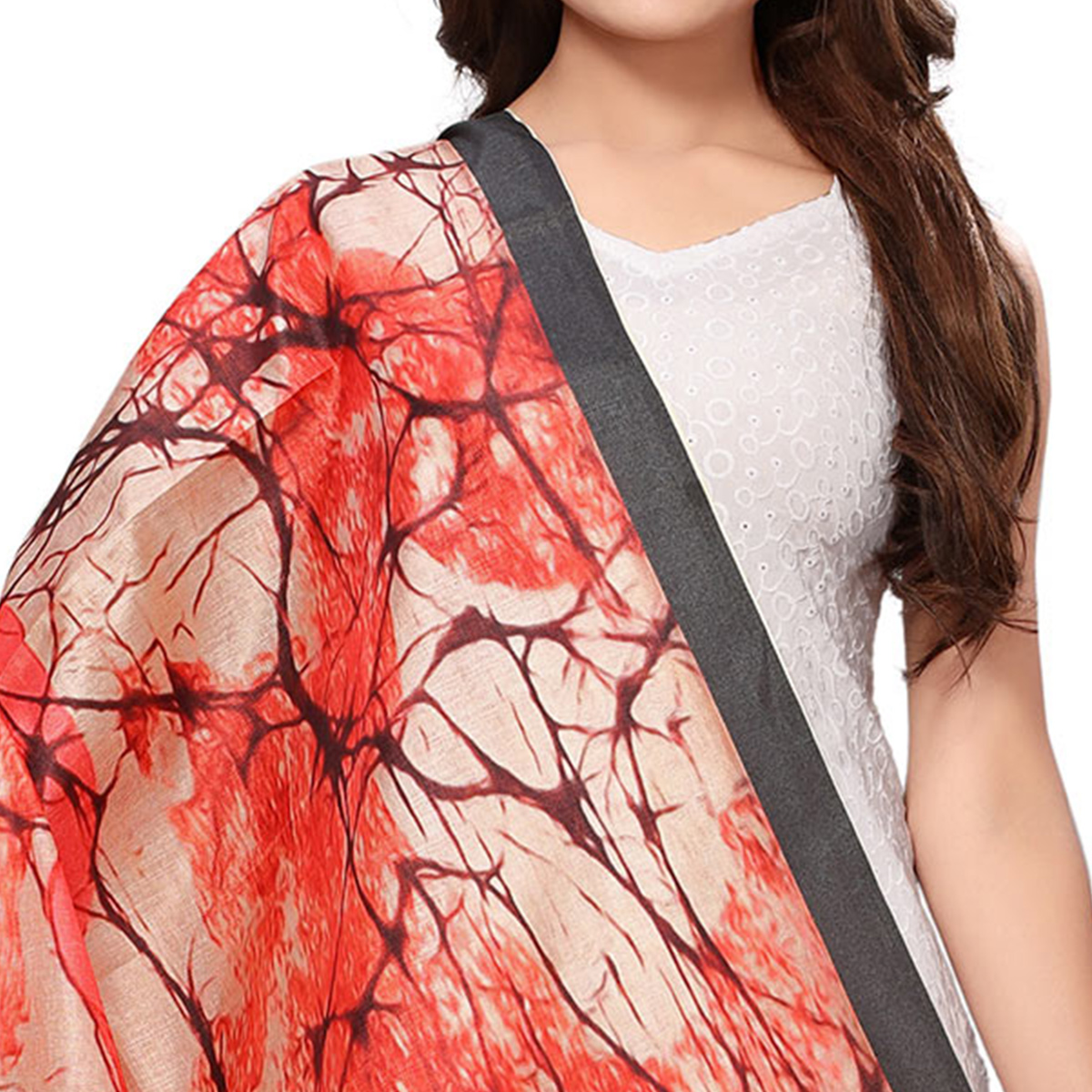 Sophisticated Red-Beige Colored Casual Wear Digital Printed Khadi Silk Dupatta