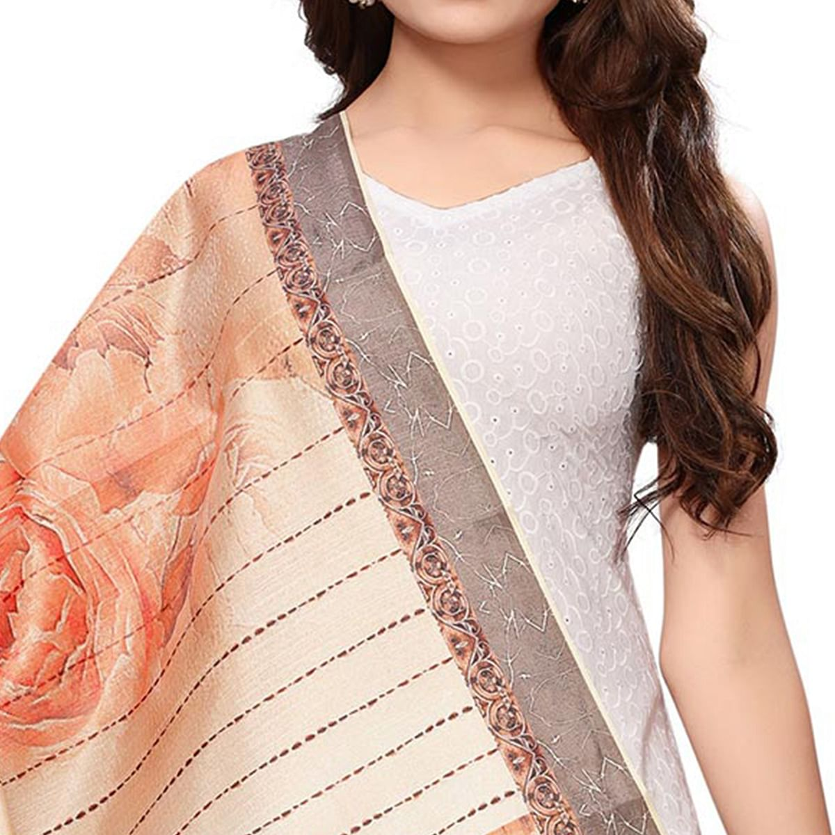 Demanding Beige-Peach Colored Casual Wear Digital Printed Khadi Silk Dupatta