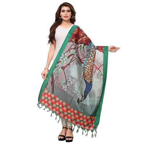 Pleasant Multicolored Casual Wear Digital Printed Khadi Silk Dupatta