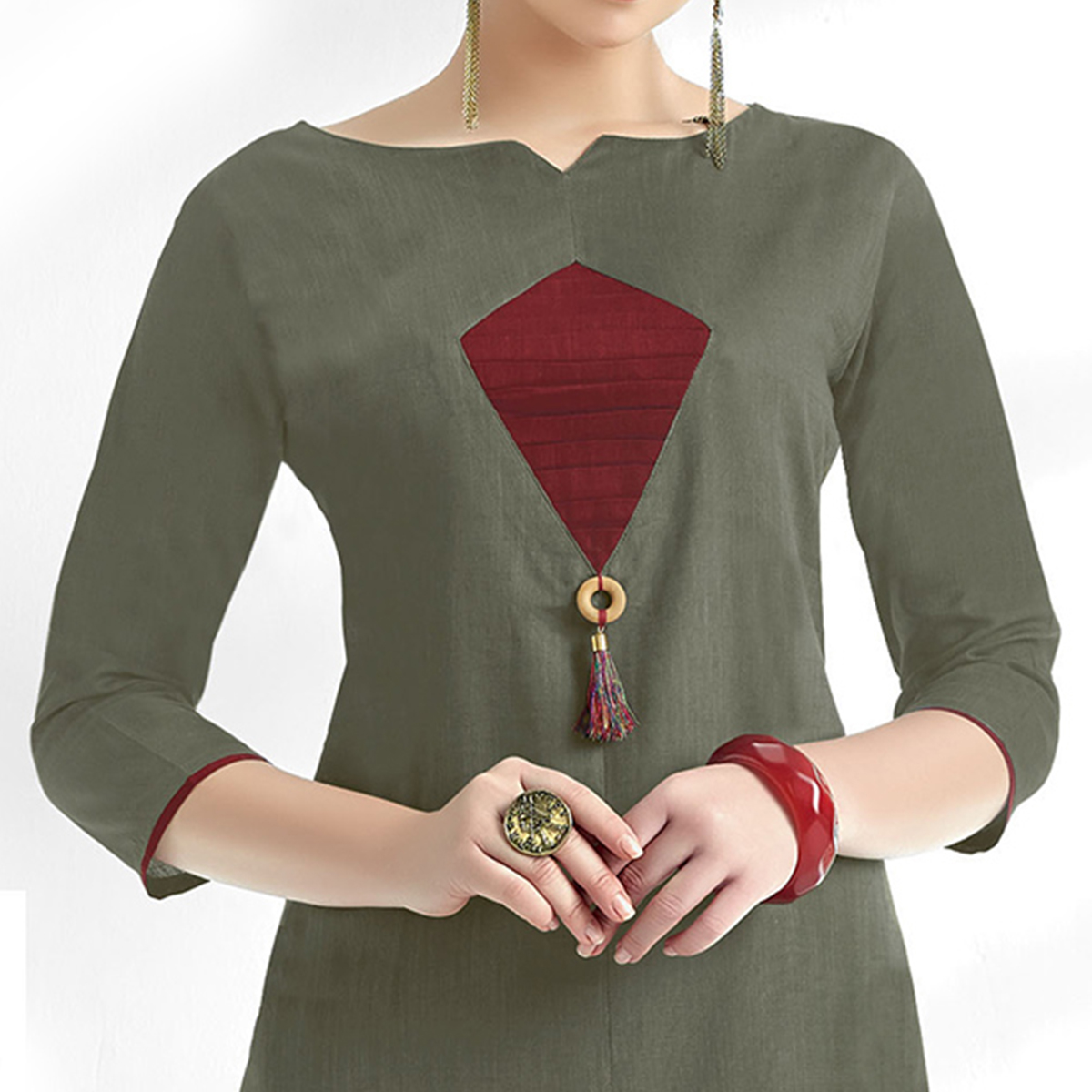 Appealing Gray Colored Casual Wear Cotton Kurti