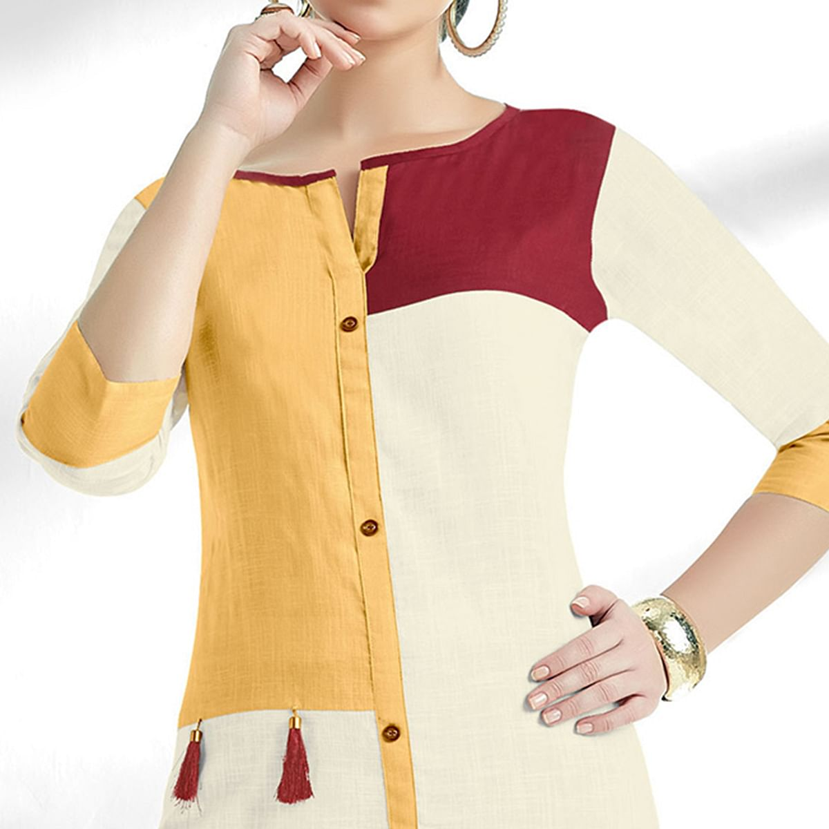 Beautiful White-Yellow Colored Casual Wear Cotton Kurti