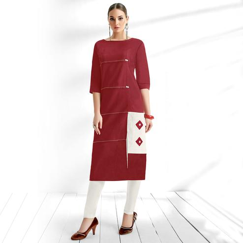 Classy Maroon Colored Casual Wear Cotton Kurti
