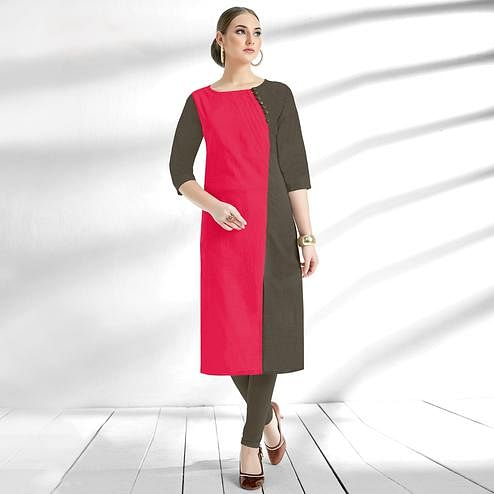 Charming Dark Pink-Gray Colored Casual Wear Cotton Kurti