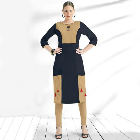 Demanding Navy Blue Colored Casual Wear Cotton Kurti