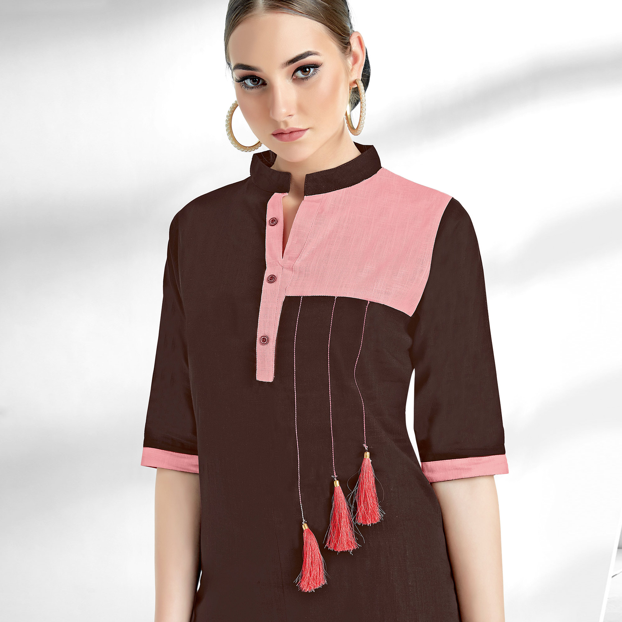 Groovy Brown Colored Casual Wear Cotton Kurti