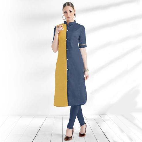 Impressive Blue-Yellow Colored Casual Wear Cotton Kurti