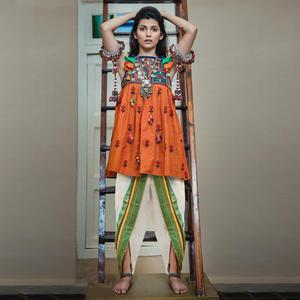 Stunning Orange-White Colored Festive Wear Embroidered Khadi Top-Bottom Set
