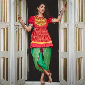 Hypnotic Pink-Green Colored Festive Wear Embroidered Khadi Top-Bottom Set