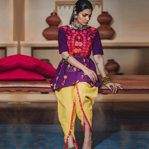 Arresting Purple-Yellow Colored Festive Wear Embroidered Khadi Top-Bottom Set