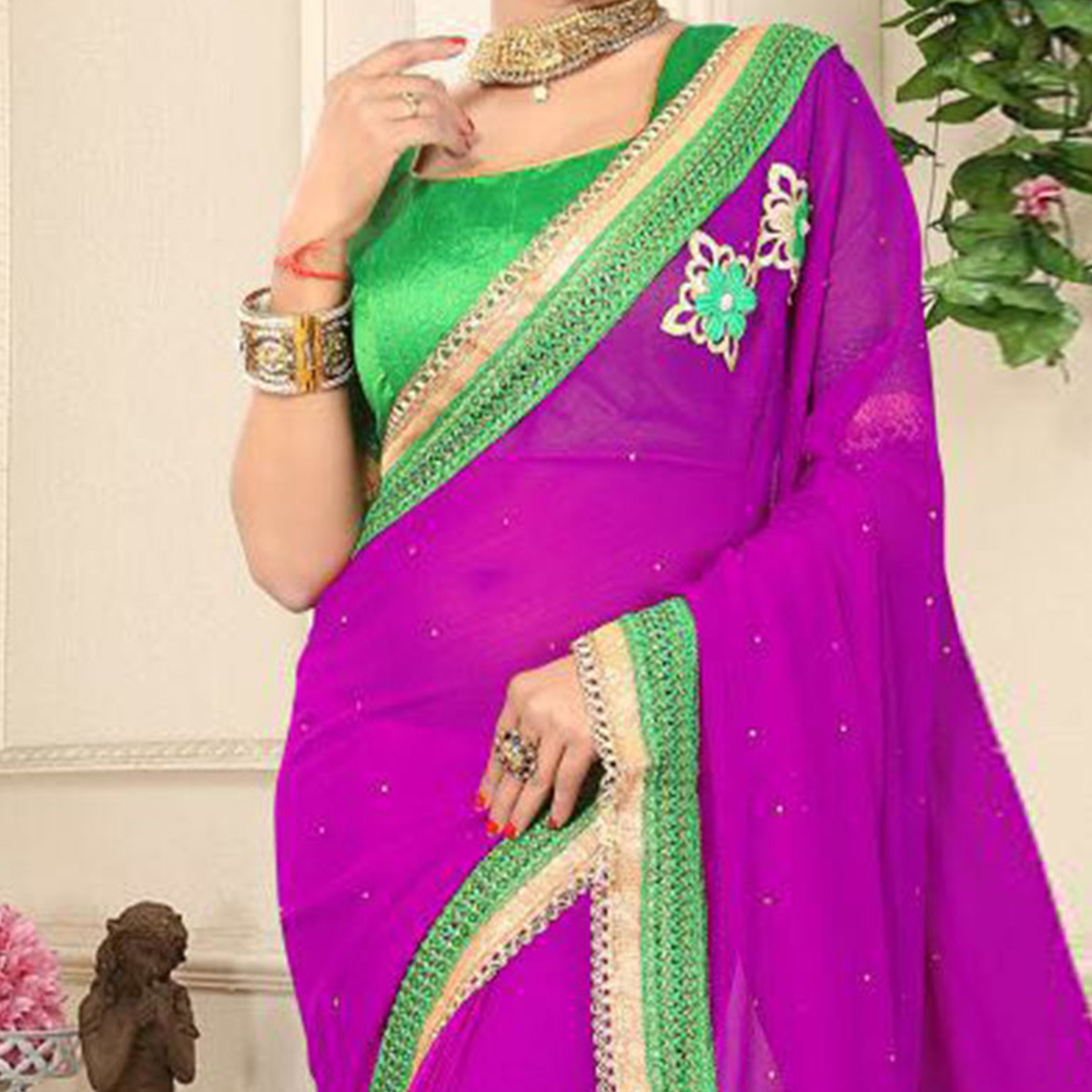 Stylish Magenta Georgette Partywear Saree