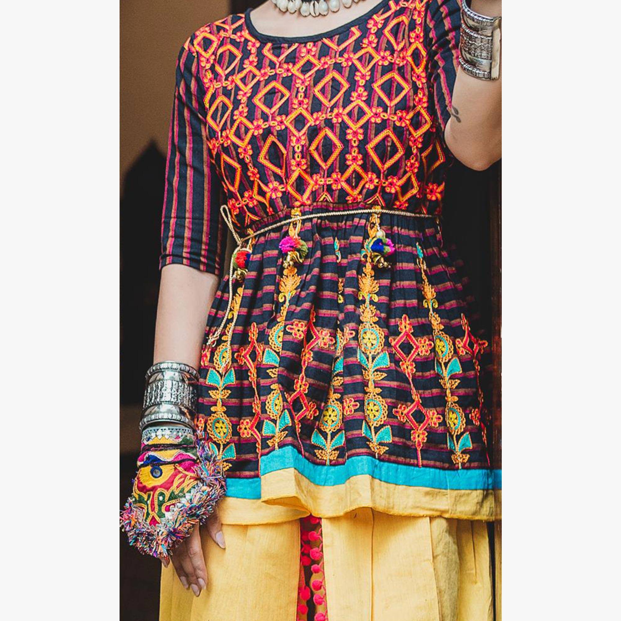 Mesmeric Black-Yellow Colored Festive Wear Embroidered Khadi Top-Bottom Set