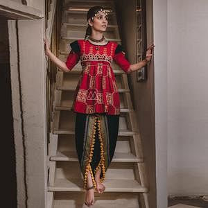 Energetic Red-Black Colored Festive Wear Embroidered Khadi Top-Bottom Set