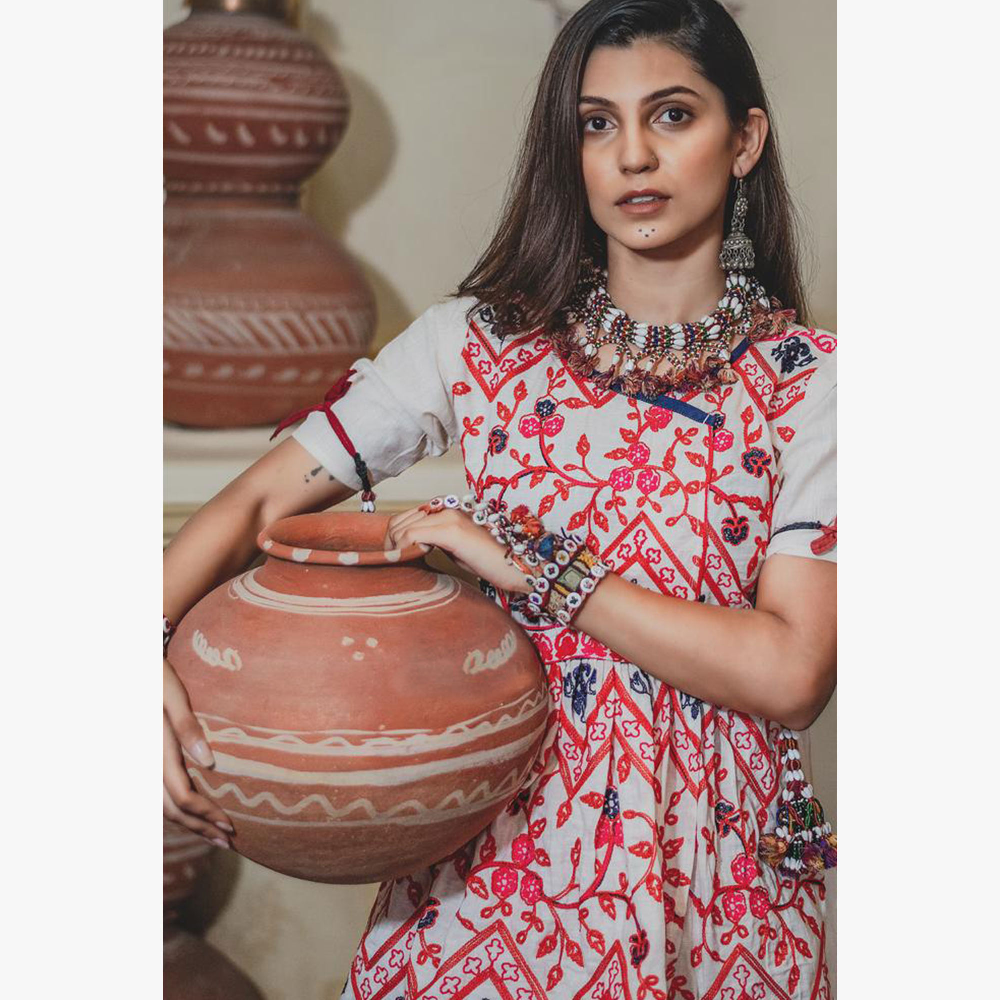 Appealing Off White-Red Colored Festive Wear Embroidered Khadi Top-Bottom Set