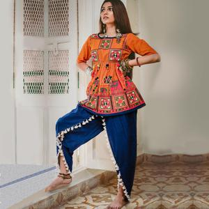 Attractive Orange-Blue Colored Festive Wear Embroidered Khadi Top-Bottom Set