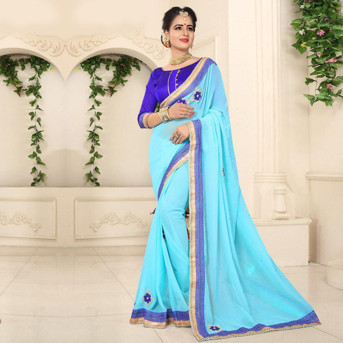 6d8d7f0a47 Buy Dazzling Blue Georgette Partywear Saree online India, Best Prices,  Reviews - Peachmode