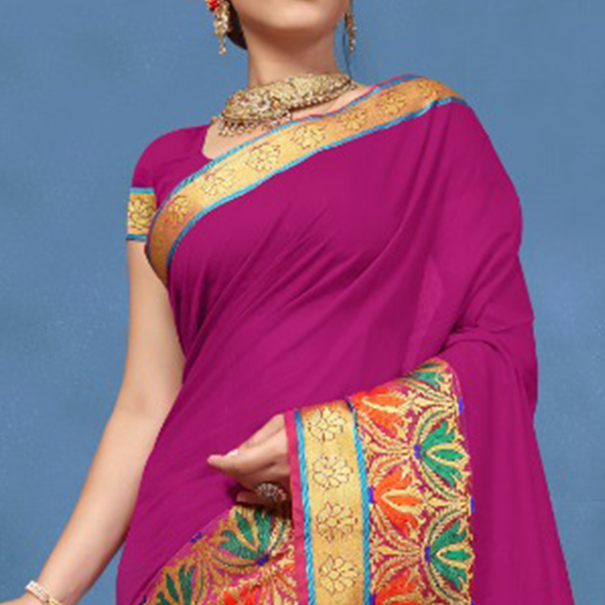Classy Dark Pink Colored Festive Wear Cotton Saree