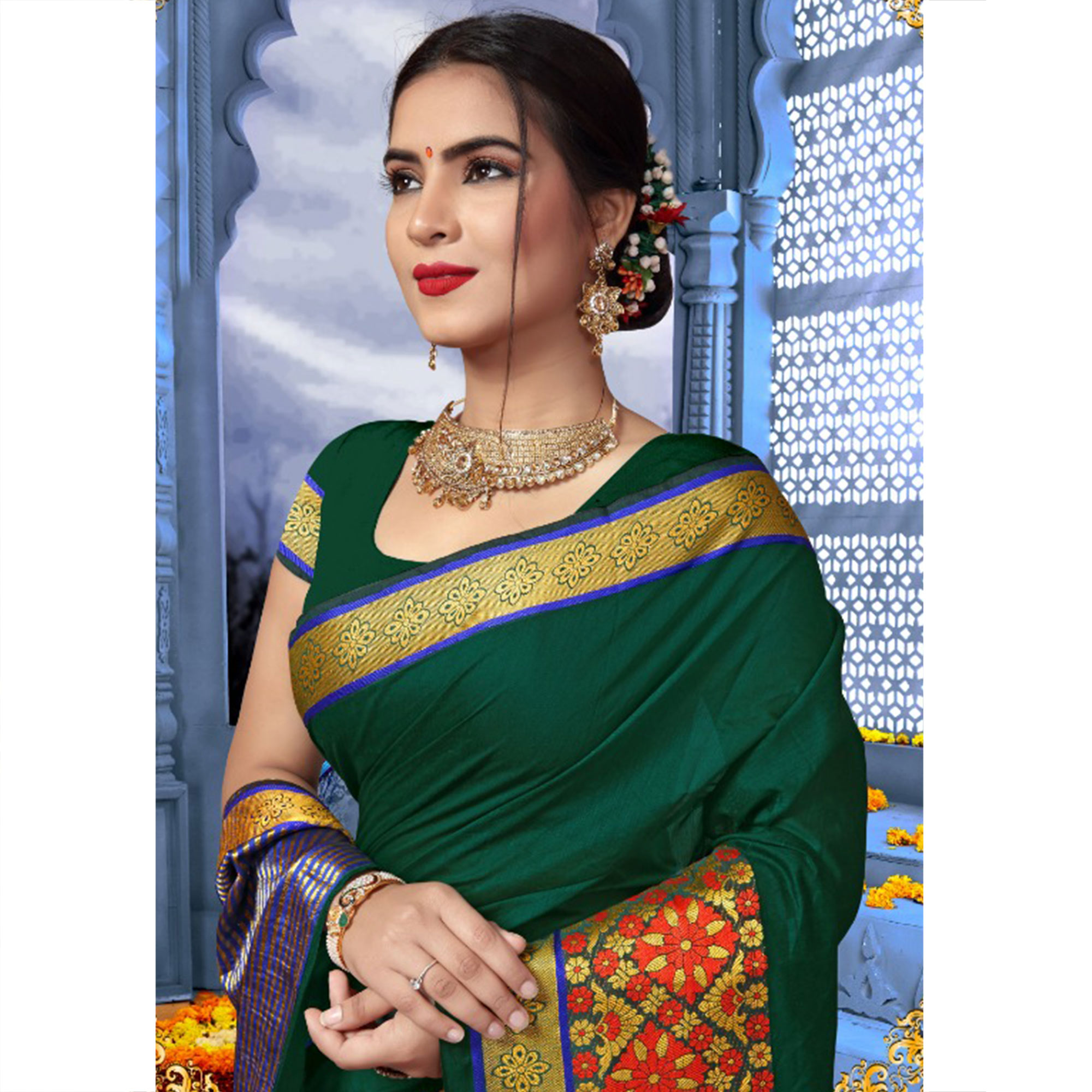 Glorious Green Colored Festive Wear Cotton Saree