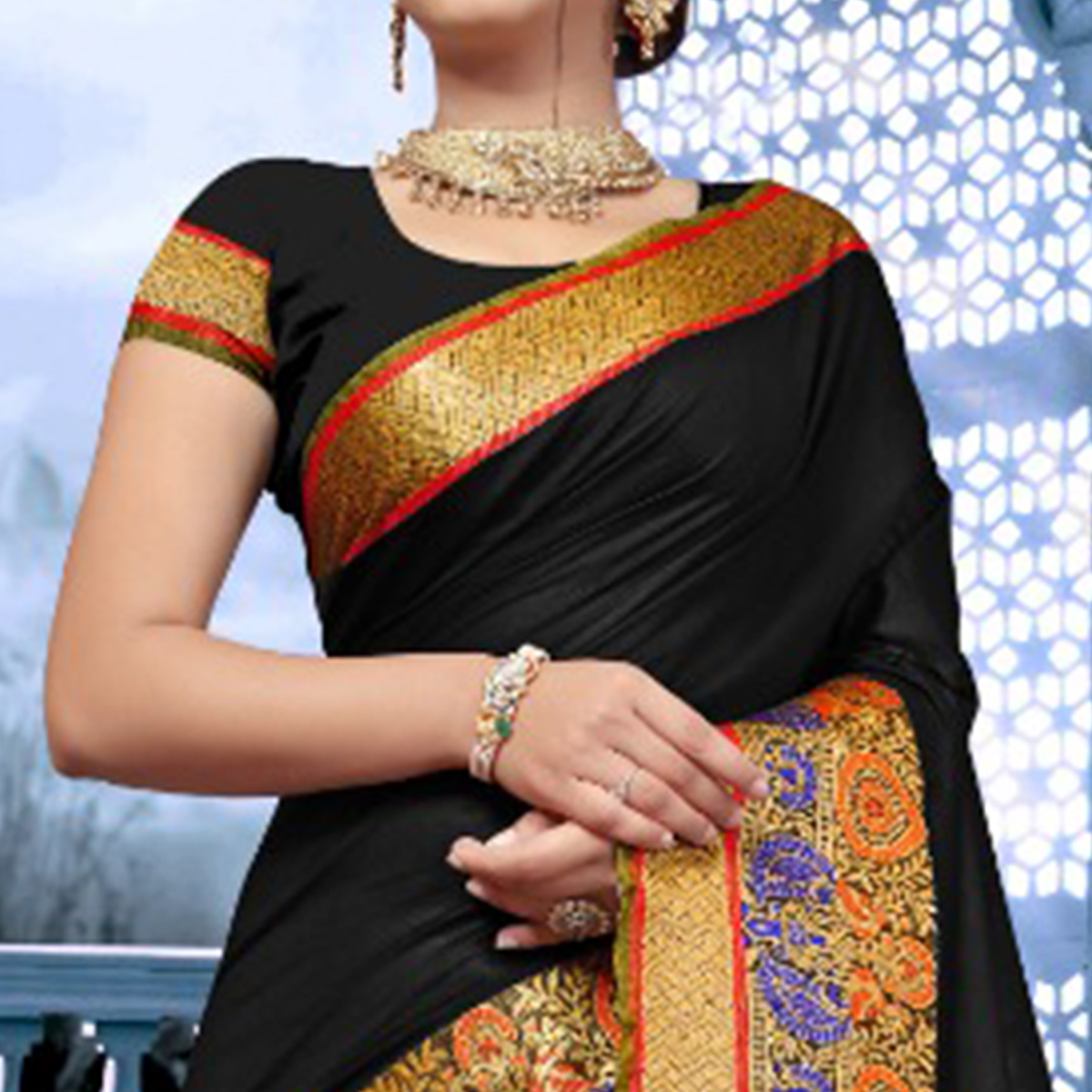 Graceful Black Colored Festive Wear  Cotton Saree