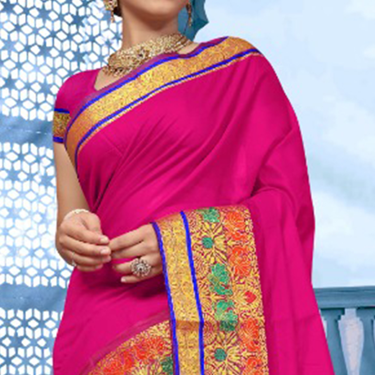 Charming Magenta Colored Festive Wear Cotton Saree