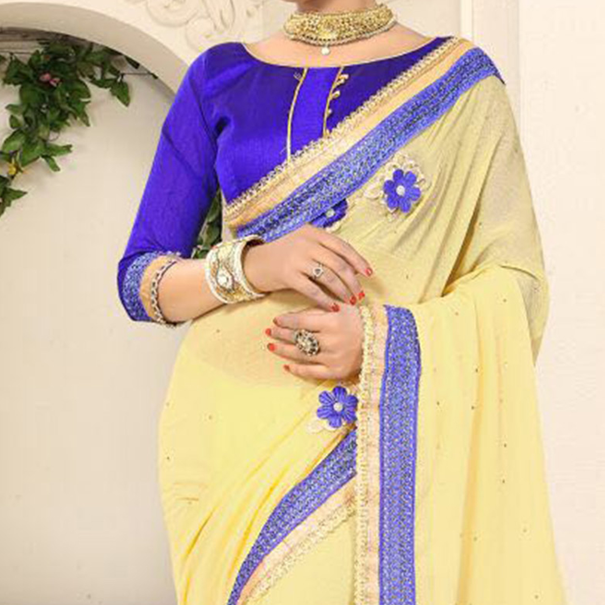 Mesmerizing Yellow Georgette Partywear Saree