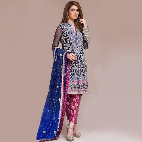 Stunning Navy Blue Colored Partywear Embroidered Georgette Pant Style Suit