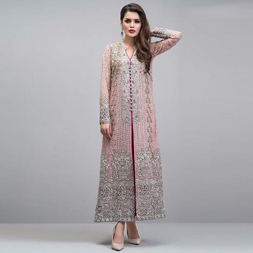 Arresting Light Pink Colored Partywear Embroidered Georgette Pant Style Suit