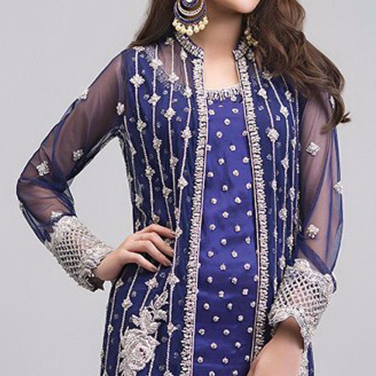 Magnetic Blue Colored Partywear Embroidered Georgette Pant Style Suit