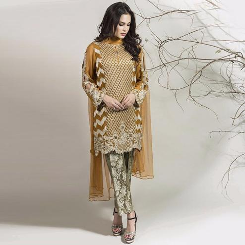 Exceptional Golden Yellow Colored Partywear Embroidered Georgette Pant Style Suit