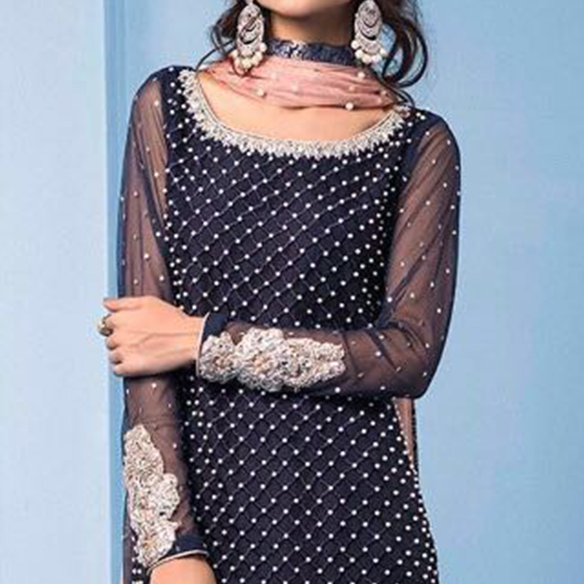 Demanding Navy Blue Colored Partywear Embroidered Georgette Pant Style Suit