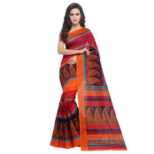 Glorious Orange-Multicolored Casual Printed Bhagalpuri Silk Saree