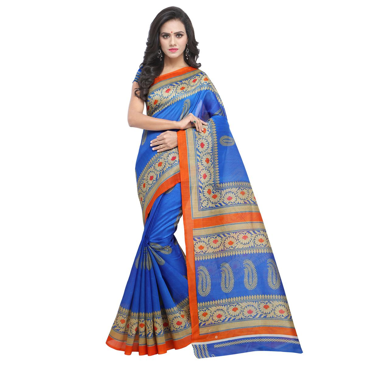 Graceful Blue Colored Festive Wear Casual Printed Bhagalpuri Silk Saree