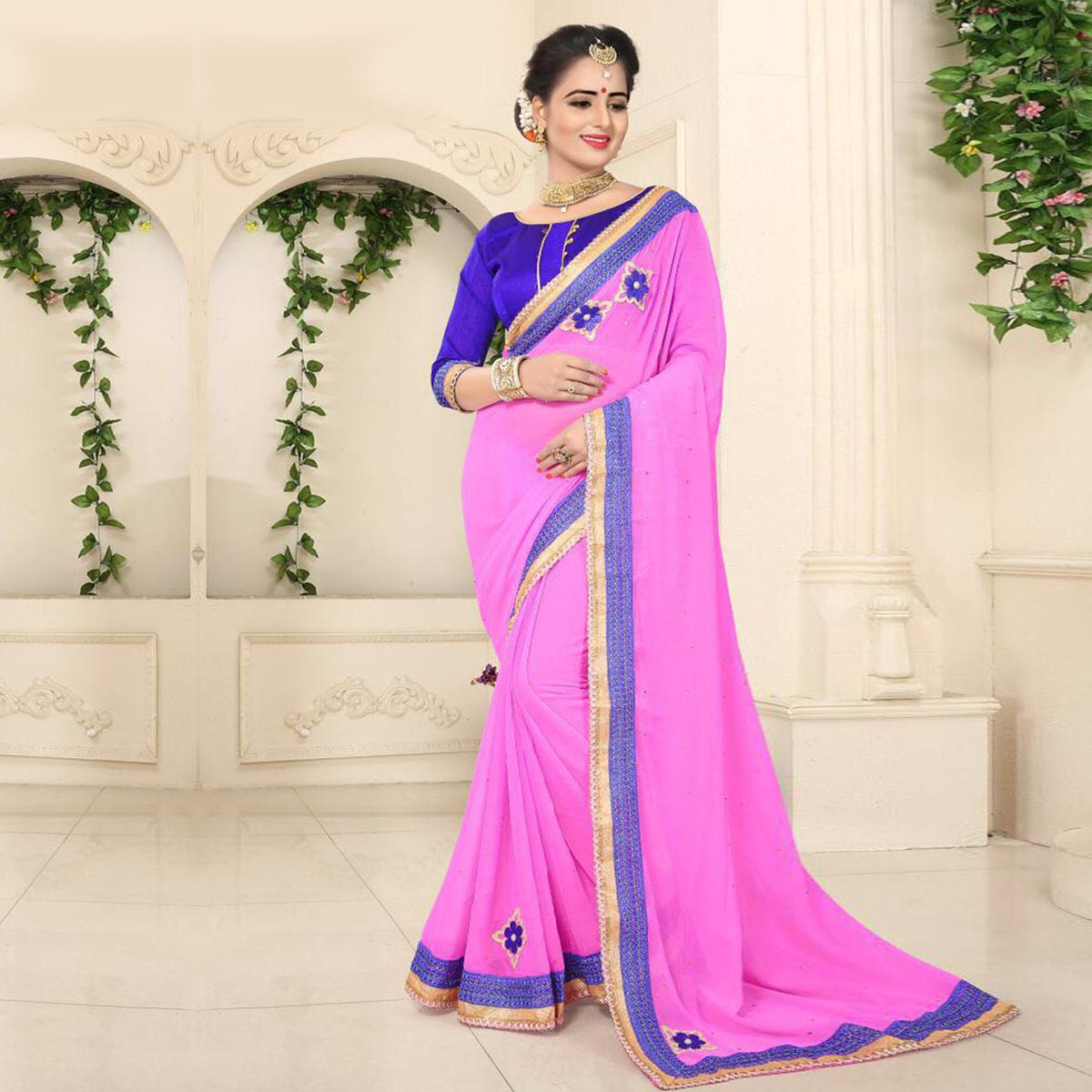 Graceful Pink Georgette Partywear Saree