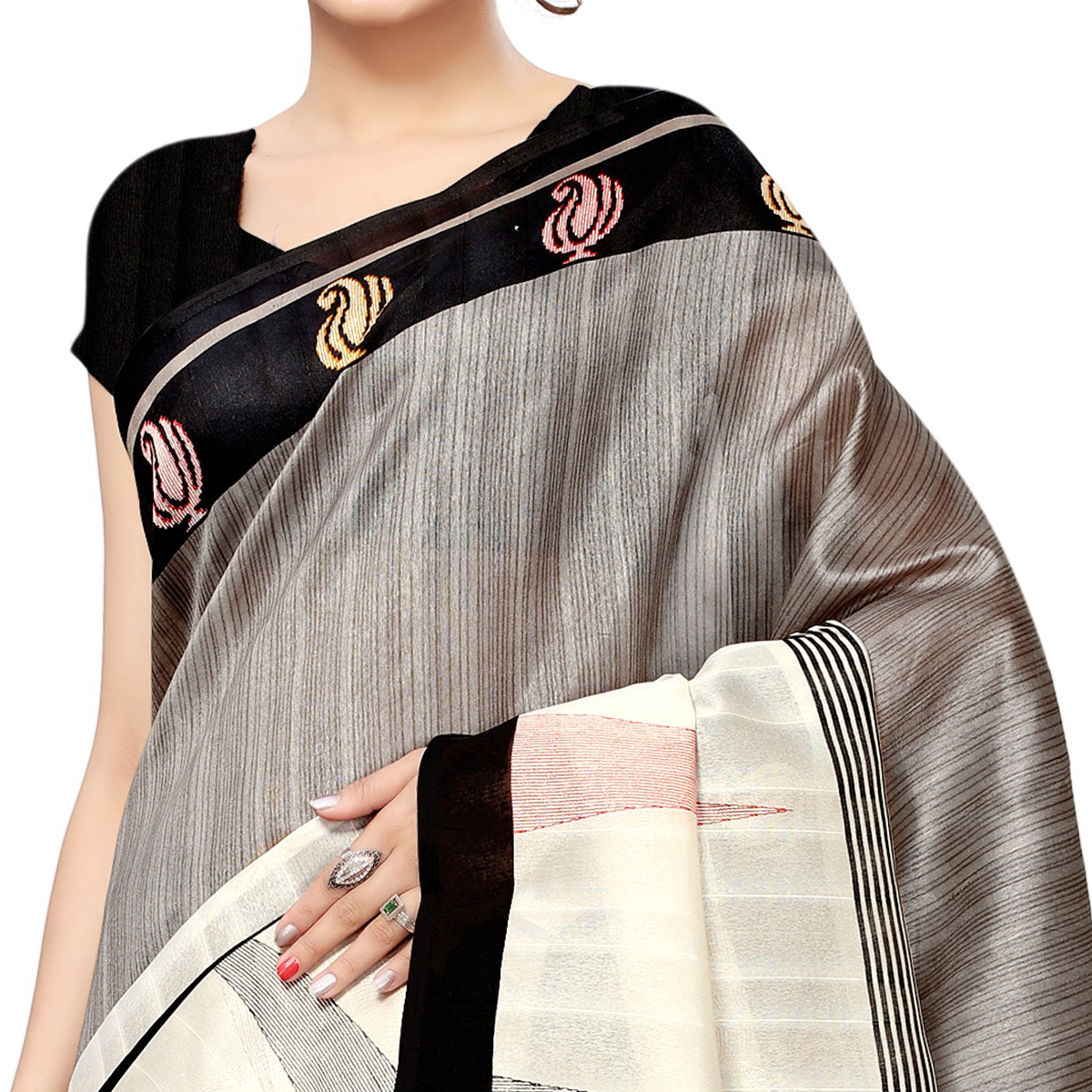 Lovely Grey Colored Casual Printed Bhagalpuri Silk Saree