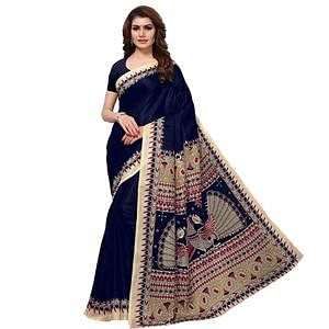 Engrossing Navy Blue Colored Casual Printed Khadi Silk Saree