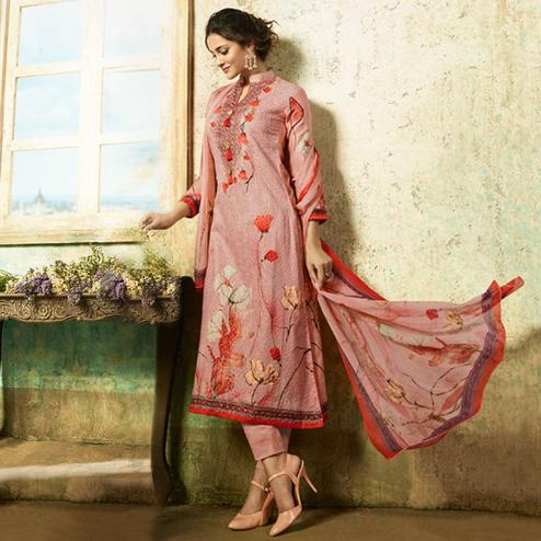 Magnetic Pink Colored Partywear Embroidered Cotton Suit