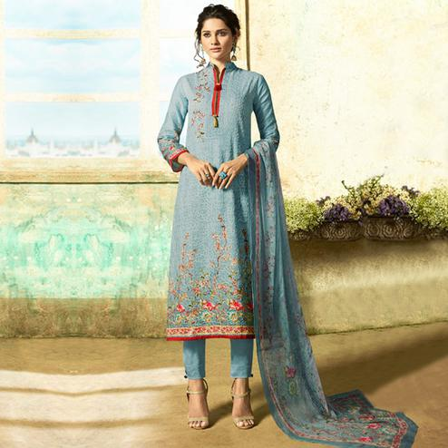 Appealing Pastel Blue Colored Partywear Embroidered Cotton Suit