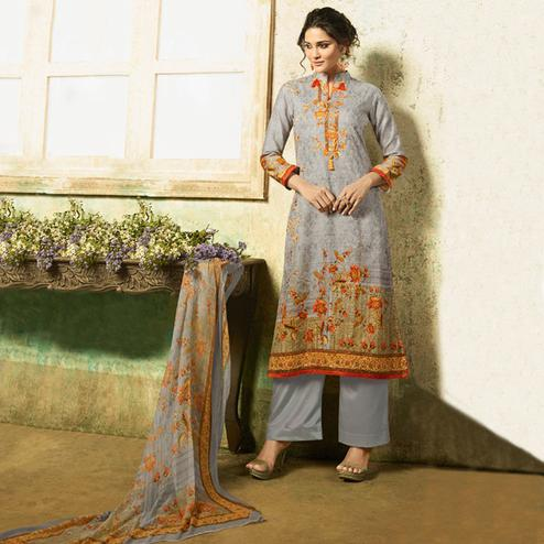 Energetic Gray Colored Partywear Embroidered Cotton Suit
