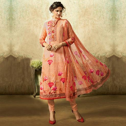 Hypnotic Peach Colored Partywear Embroidered Cotton Suit