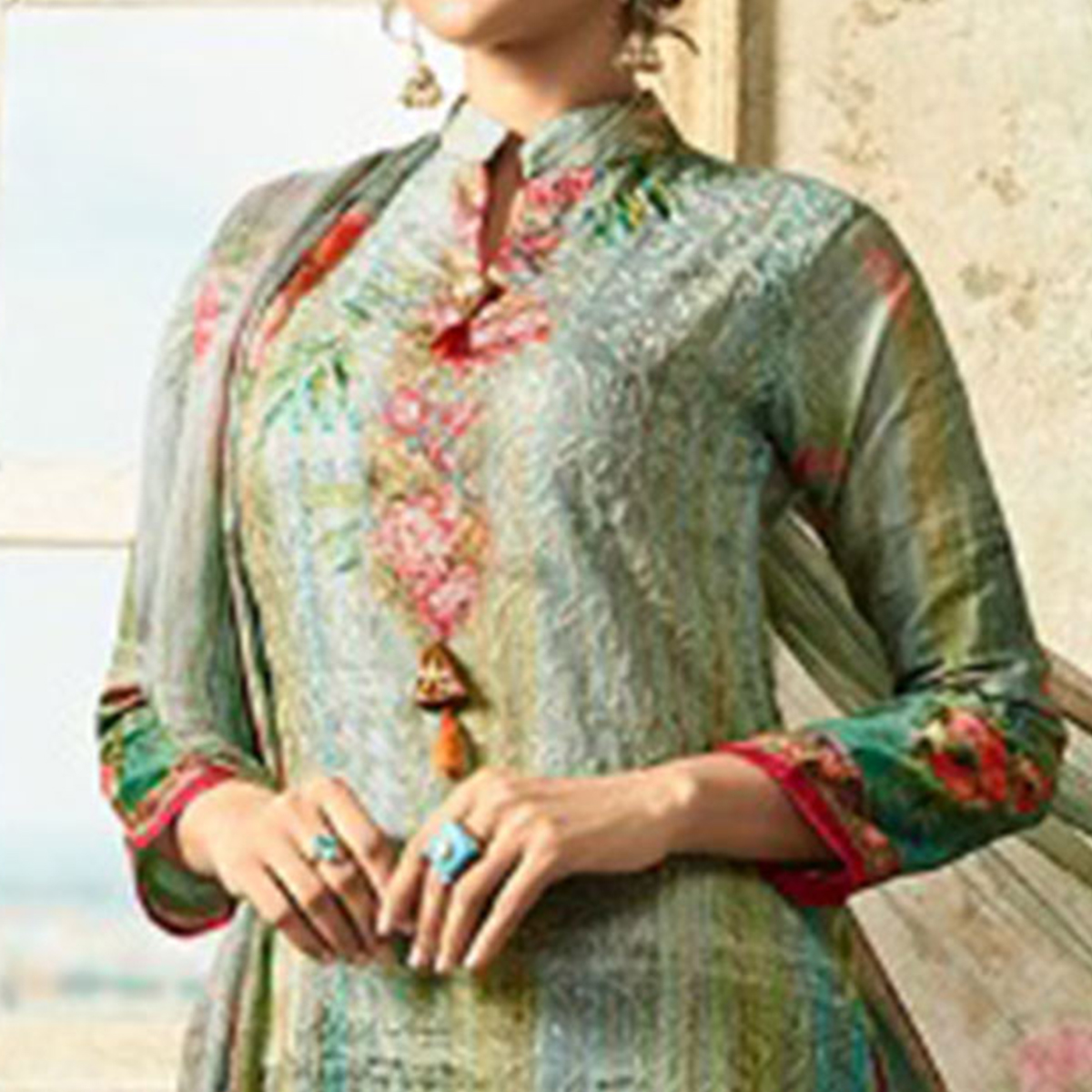 Refreshing Aqua Green Colored Partywear Embroidered Cotton Suit