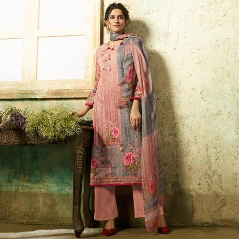 Impressive Pink Colored Partywear Embroidered Cotton Suit