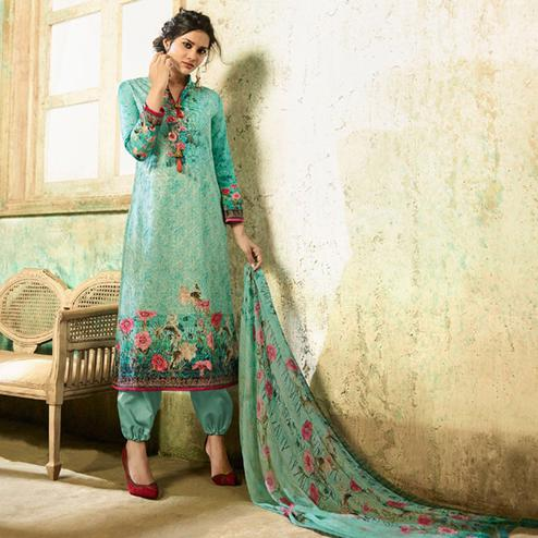 Amazing Turquoise Green Colored Partywear Embroidered Cotton Suit