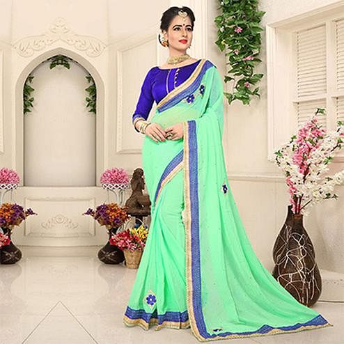 Attractive Green Georgette Partywear Saree