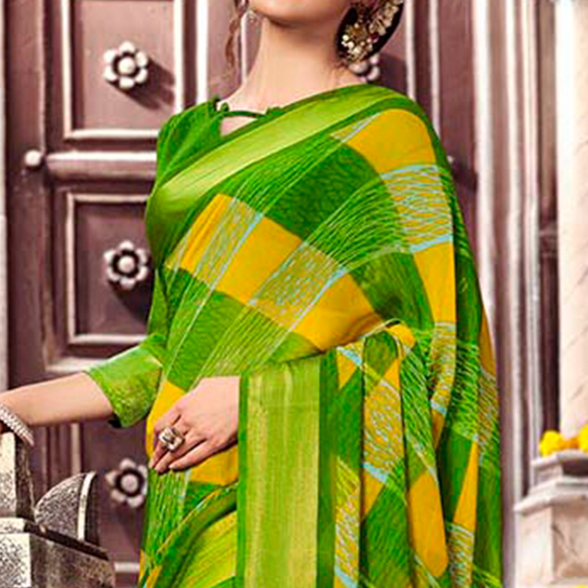 Adorning Green Colored Casual Printed Georgette Saree